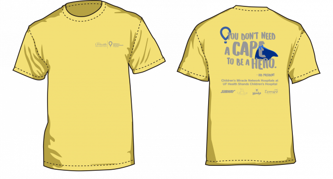"""Yellow T-Shirt featuring slogan """"You don't have to wear a cape to be a hero"""" by Kid President"""