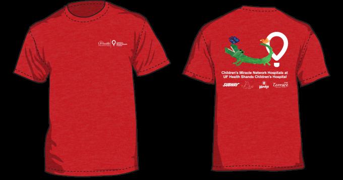 Red T-Shirt featuring green alligator art by UF Health Shands Children's Hospital patient
