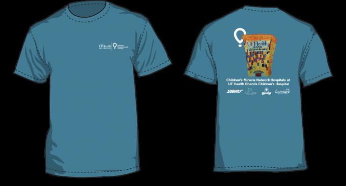 Blue T-shirt featuring pediatric patient artwork of UF Health Shands Children's Hospital