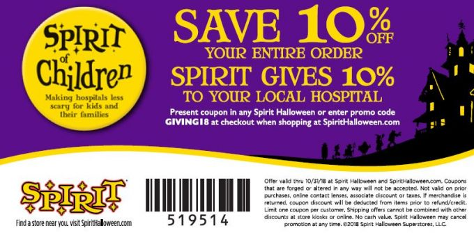 Spirit of Children Spirit Halloween 2018 Coupon