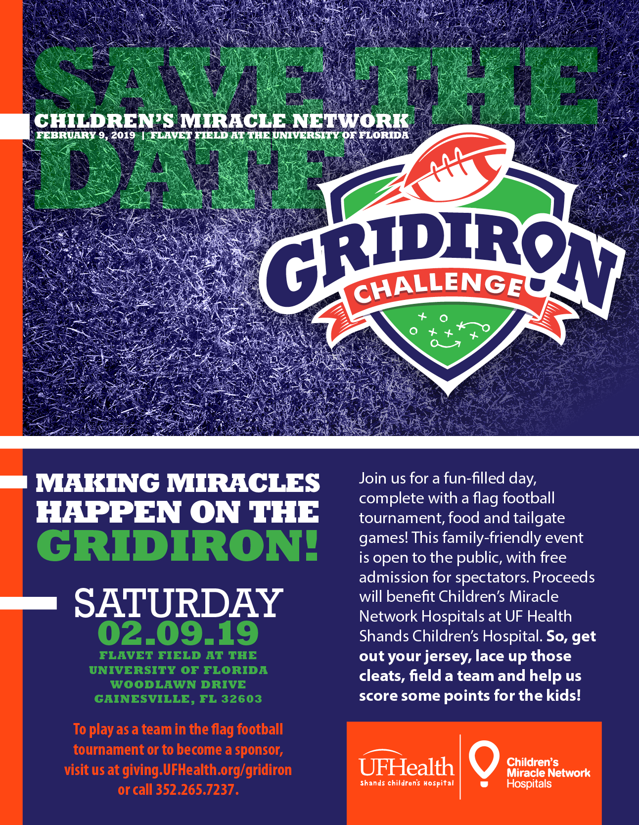 Save the Date for UF Health Gridiron Challenge on February 9, 2019