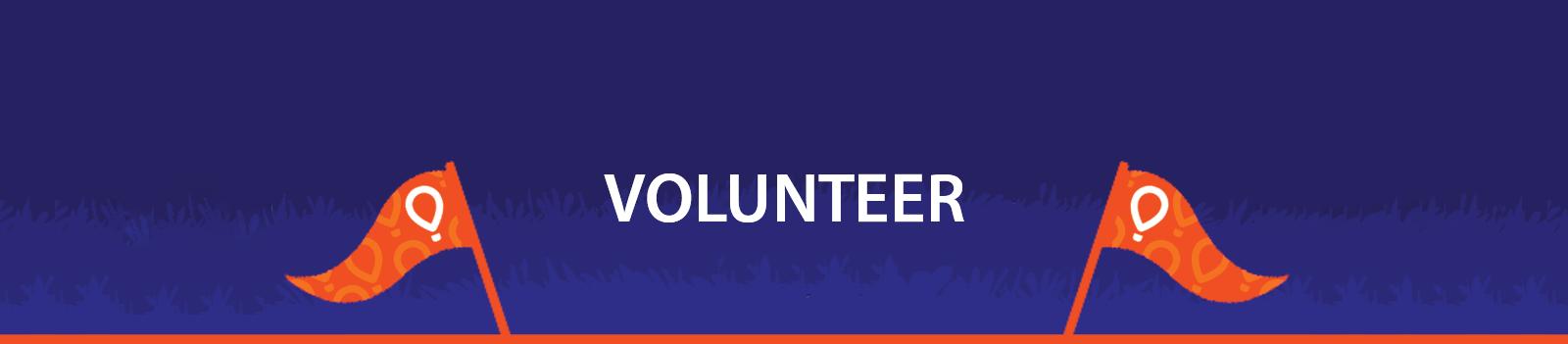 "Blue horizontal button that reads ""Volunteer"""