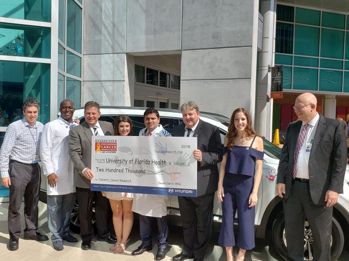 Hyundai Hope on Wheels award ceremony for Paul Castillo, UF Health pediatric oncologist