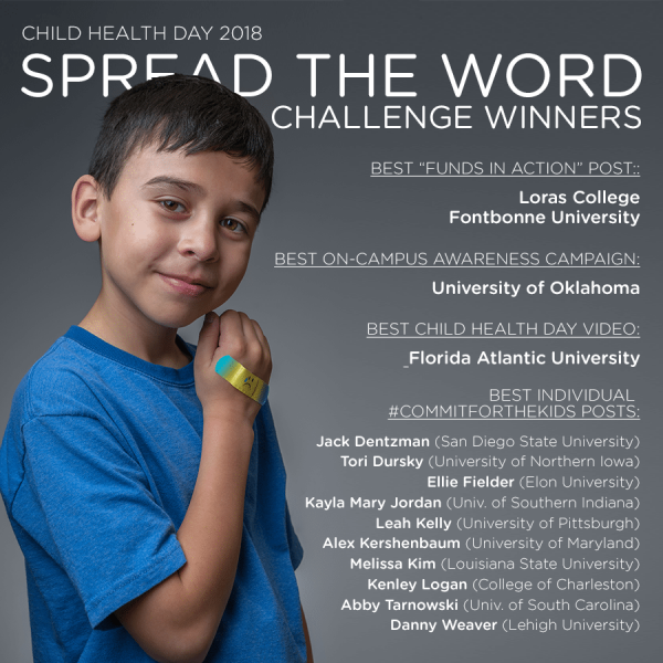 Winners from the Spread the Word Challenge by CMN Hospitals for Child Health Day.