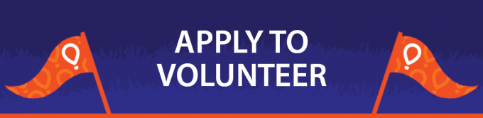 "Blue horizontal button that reads ""Apply to Volunteer"""