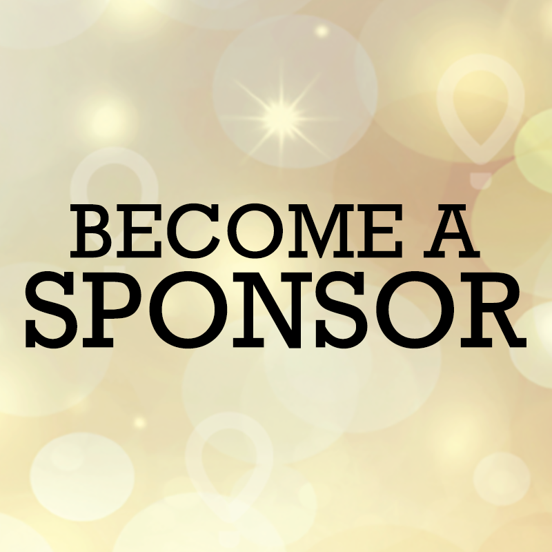 "Gold background with black block-letter type that reads ""Become a Sponsor"""