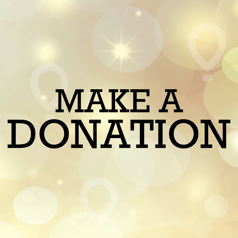 "Gold background with black block-letter type that reads ""Make a Donation"""