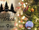 A holiday photo with trees, ornaments and white lights with a black Festival of Trees logo.