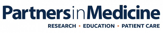 """UF Health Partners in Medicine blue wordmark stacked above the words """"research, education and patient care."""""""