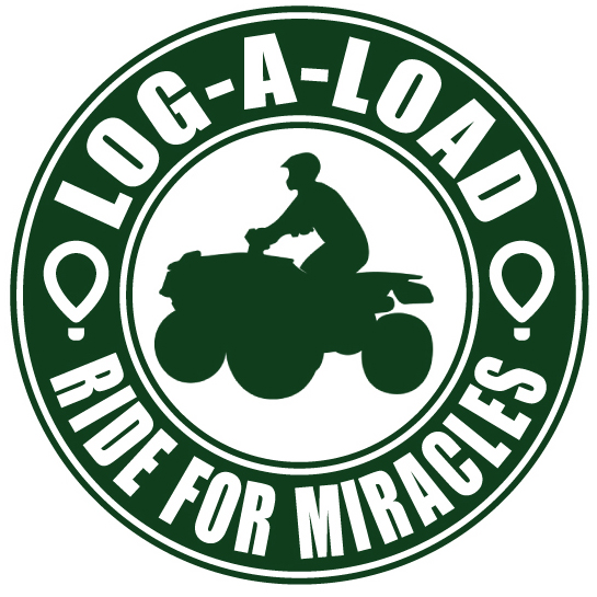 Green and white circle with Log-A-Load Ride for Miracles around the outside and a silhouette of an ATV rider in the center.