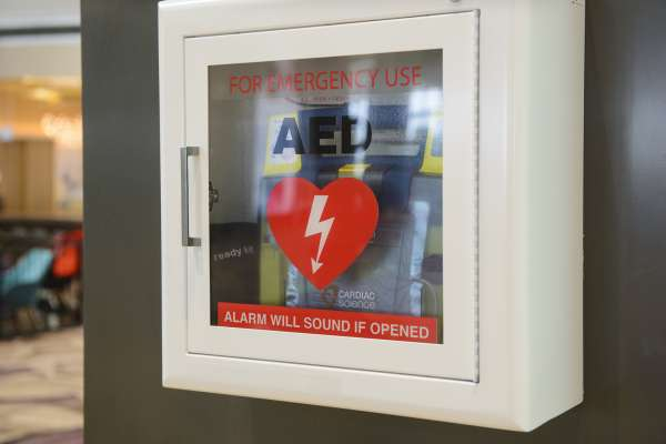 Automated External Defibrillator(AED) on the wall.