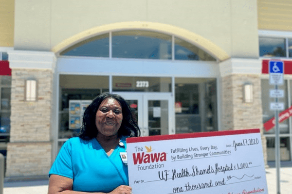Wawa made a $1,000 donation to CMN Hospitals at UF Health Shands Children's Hospital in honor of Quintina Richardson, a Unit Assistant for Pediatric 45.