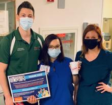 "Three UF Health nurses receive Sonic slushes as a part of the inaugural ""Nourish a Nurse"" campaign."