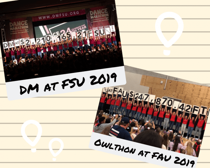 OwlThon at FAU and Dance Marathon at FSU 2019 total reveal photos