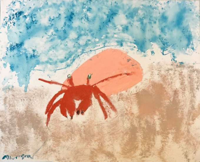 Crab on a beach artwork by former patient Marshal Fisher