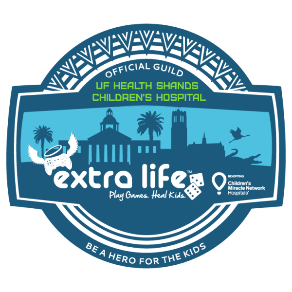 Extra Life Official Guild logo for UF Health Shands Children's Hospital
