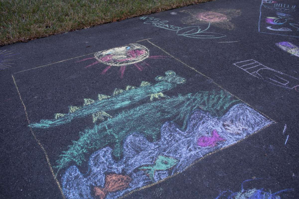 Chalk art by UF Health Artists in Residence.