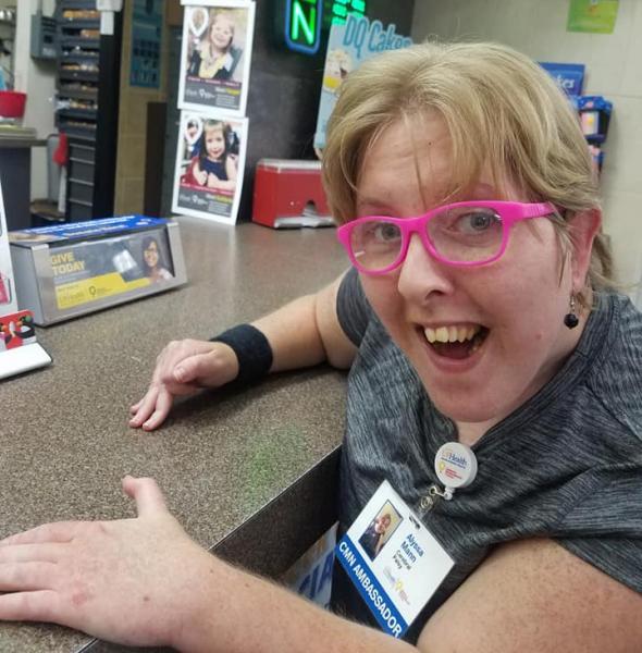 CMN Hospitals Ambassador Alyssa is excited to order a treat at Dairy Queen.